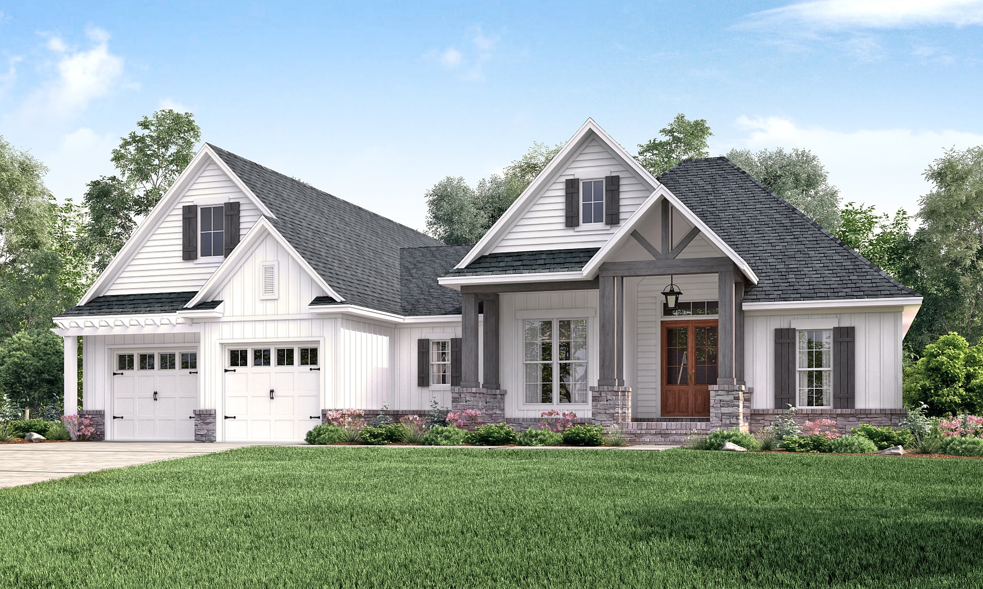 #142-1177 · Photo-realistic rendering of Country home plan  (ThePlanCollection: House Plan #142-
