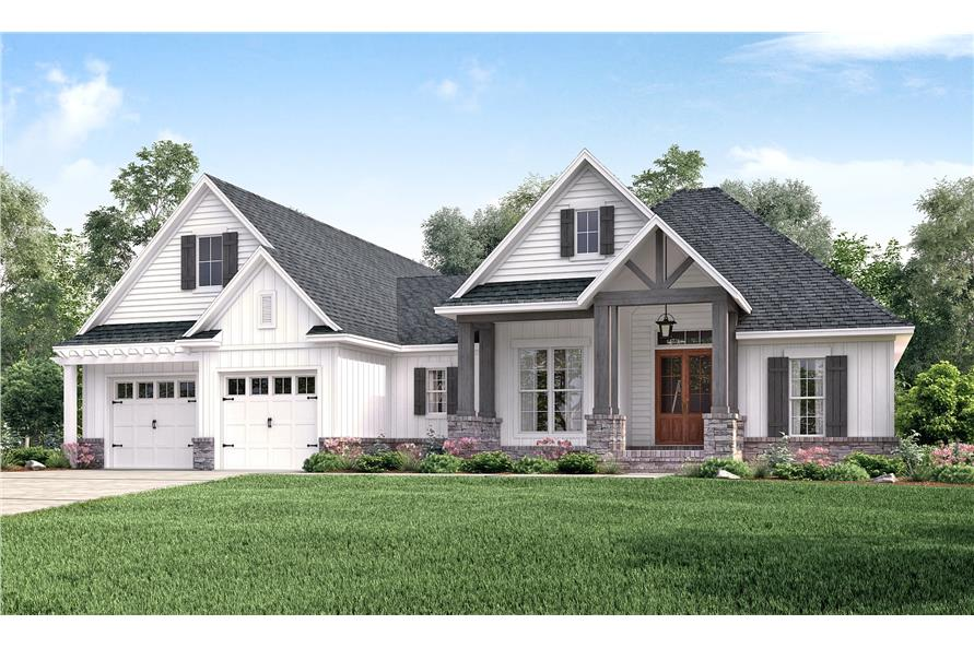 3-Bedroom, 2073 Sq Ft Country Home Plan - 142-1177 - Main Exterior
