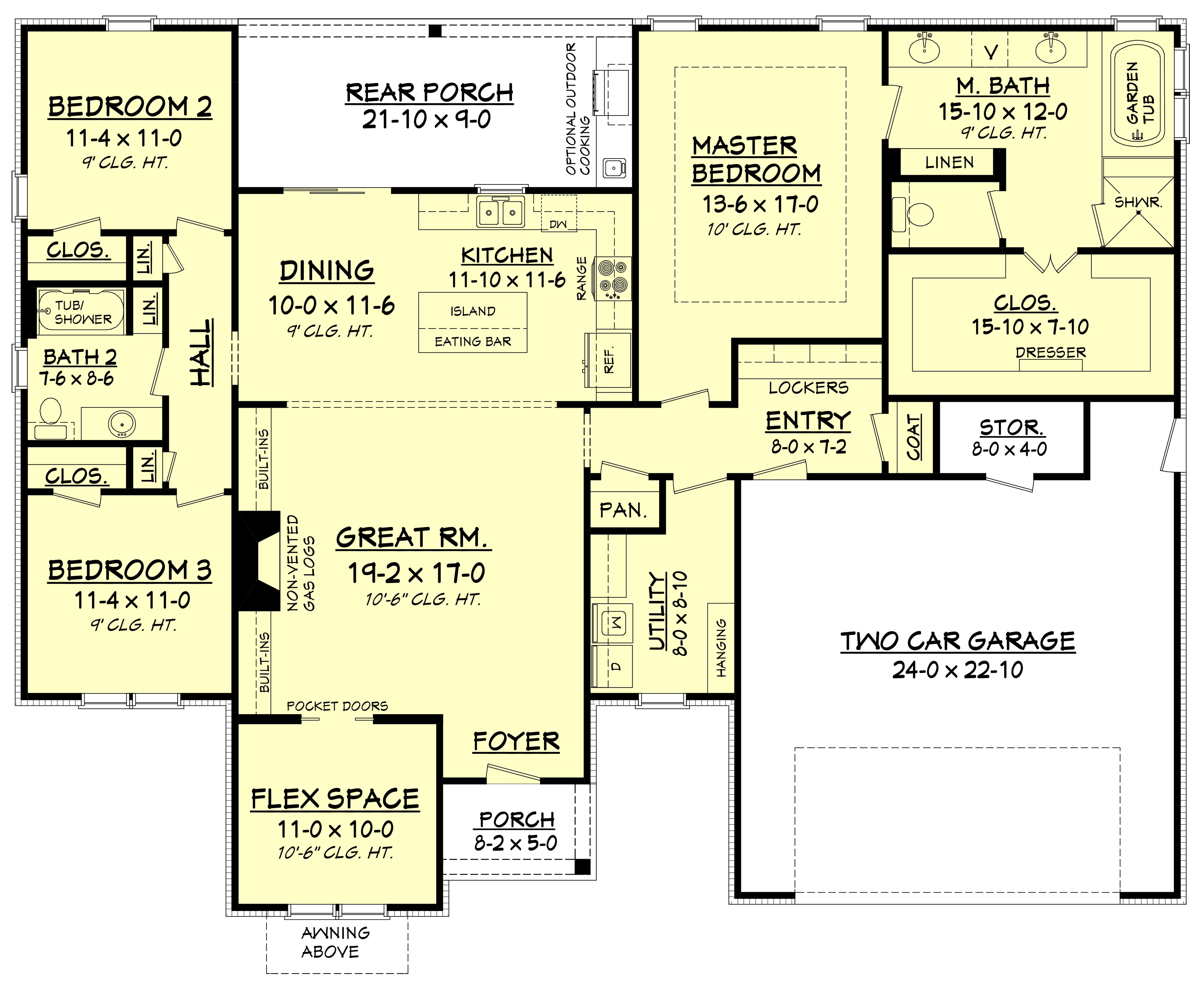 3 Bedrm, 2019 Sq Ft Traditional House Plan #142-1178