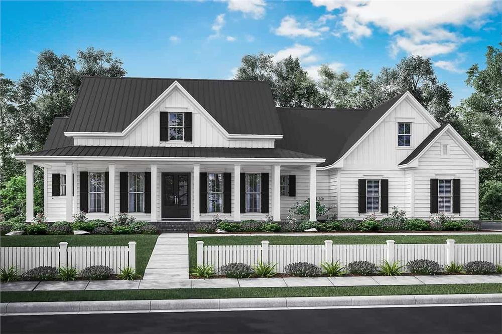 Front elevation of Transitional Farmhouse (ThePlanCollection: Plan #142-1180)