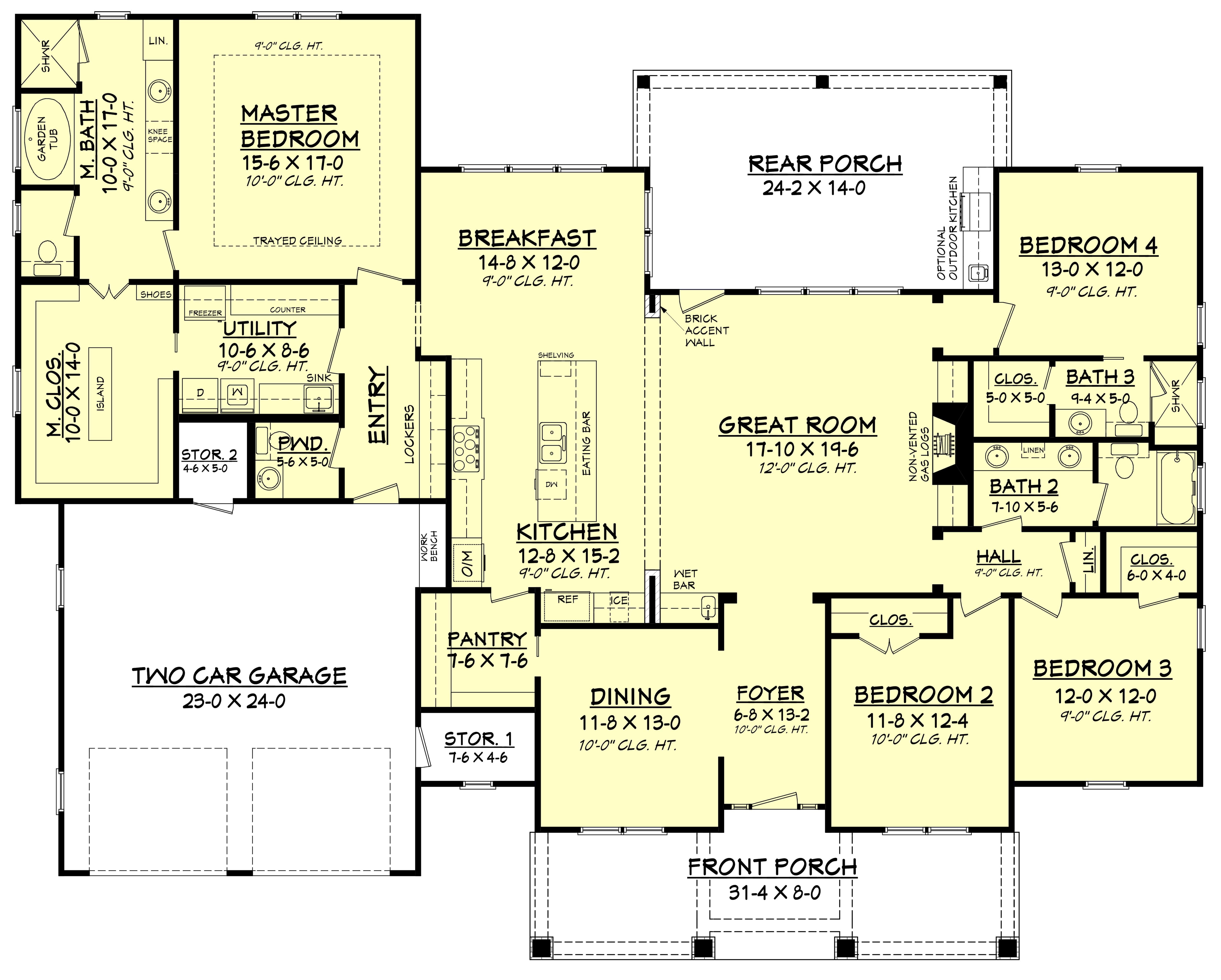 4 bedrm 2759 sq ft country house plan 142 1181 for Building a house layout