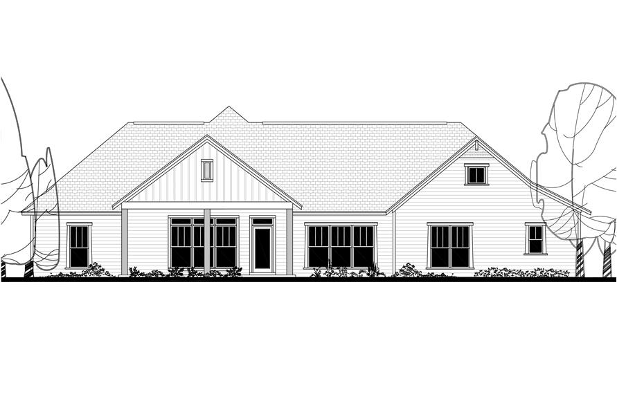 Home Plan Rear Elevation of this 4-Bedroom,2759 Sq Ft Plan -142-1181