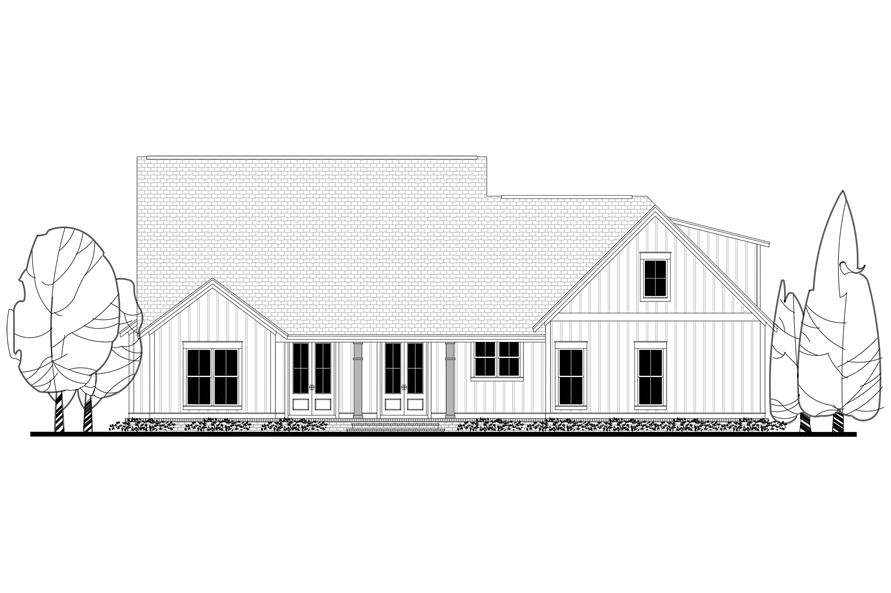 Home Plan Rear Elevation of this 3-Bedroom,2077 Sq Ft Plan -142-1184