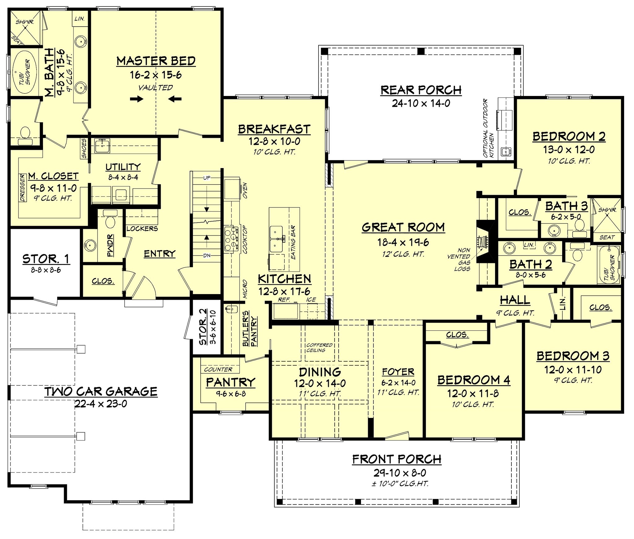 4 Bedroom House Layout: Transitional Country Farmhouse Plan