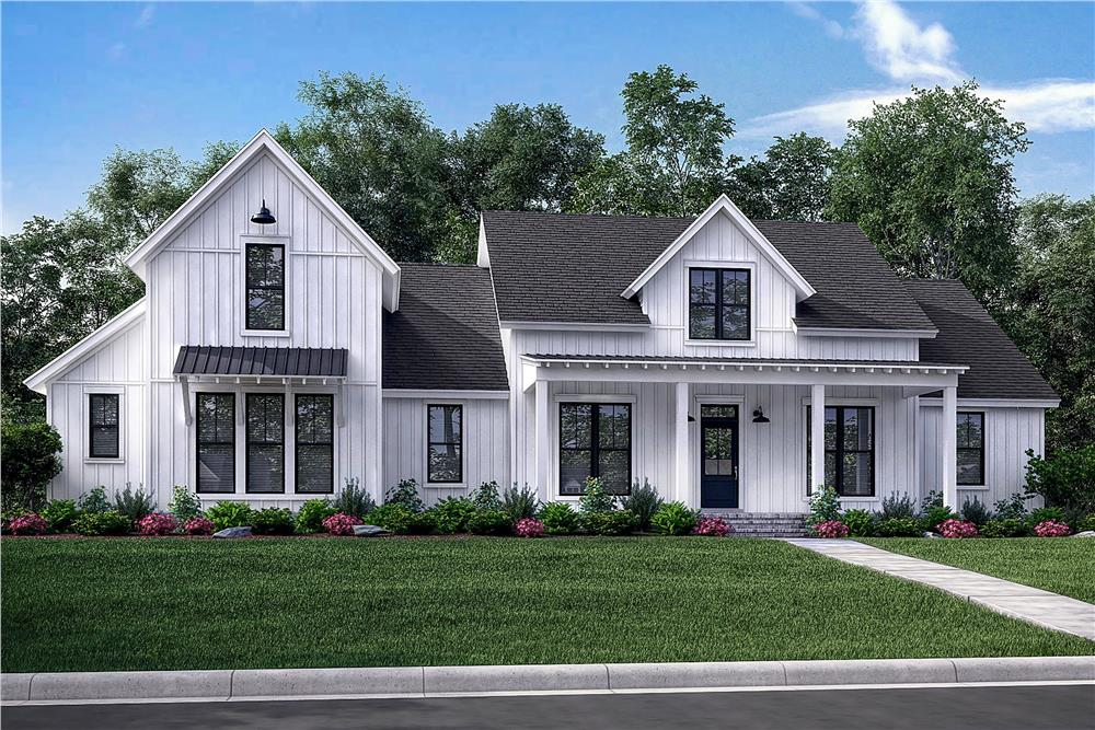 Front elevation of transitional country farmhouse (ThePlanCollection: House Plan #142-1185)