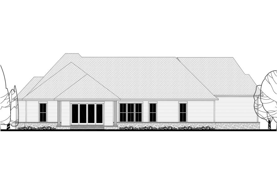 Home Plan Rear Elevation of this 3-Bedroom,2534 Sq Ft Plan -142-1186