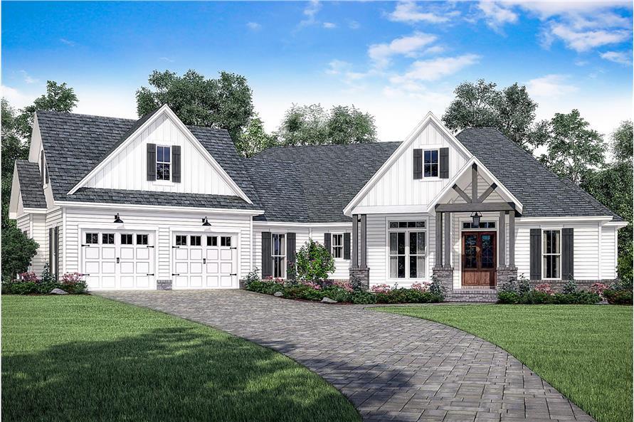 craftsman home plan - 3 bedrms, 2.5 baths - 2534 sq ft - #142-1186