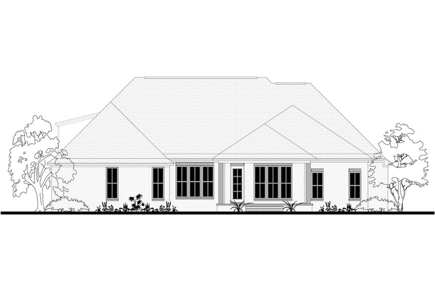 Home Plan Rear Elevation of this 4-Bedroom,2404 Sq Ft Plan -142-1188