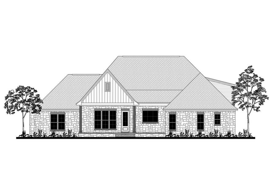 Home Plan Rear Elevation of this 4-Bedroom,2589 Sq Ft Plan -142-1189