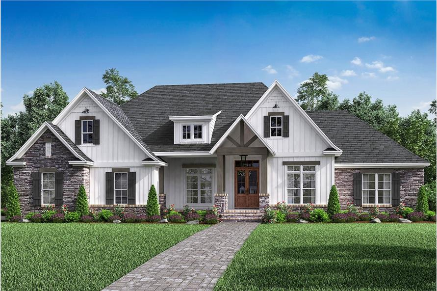 4-Bedroom, 2589 Sq Ft Country House Plan - 142-1189 - Front Exterior