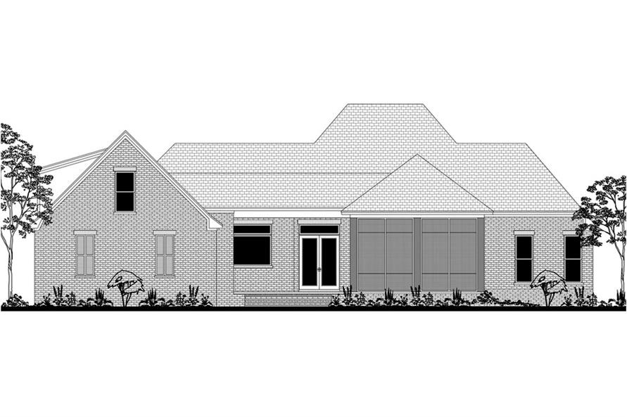 Home Plan Rear Elevation of this 3-Bedroom,2566 Sq Ft Plan -142-1190