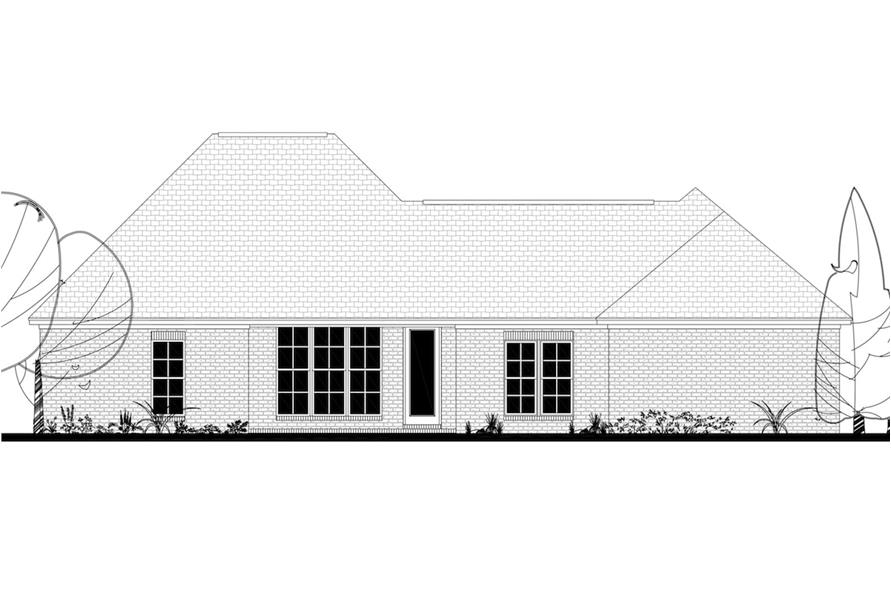 Home Plan Rear Elevation of this 4-Bedroom,2053 Sq Ft Plan -142-1192