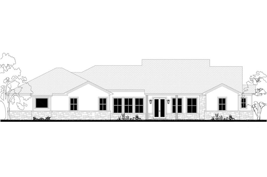Home Plan Rear Elevation of this 3-Bedroom,2920 Sq Ft Plan -142-1203