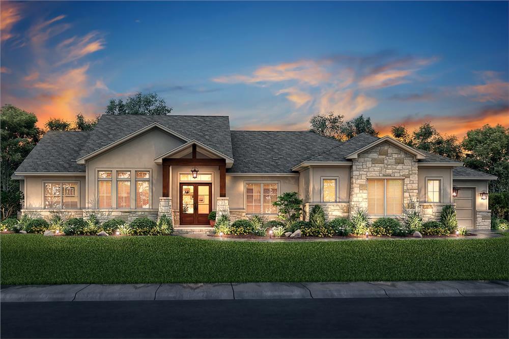 Farmhouse home (ThePlanCollection: House Plan #142-1203)
