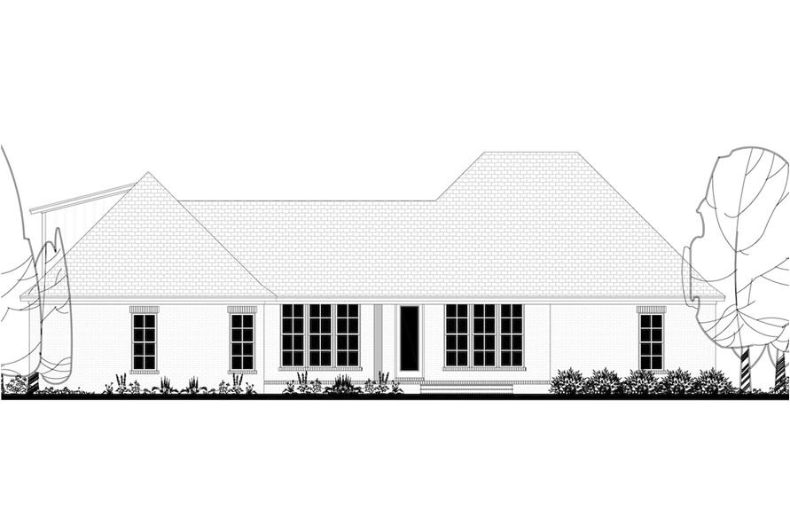 Home Plan Rear Elevation of this 4-Bedroom,2373 Sq Ft Plan -142-1204