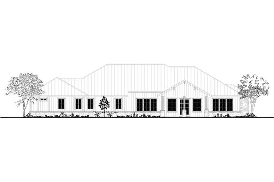 Home Plan Rear Elevation of this 4-Bedroom,3366 Sq Ft Plan -142-1207