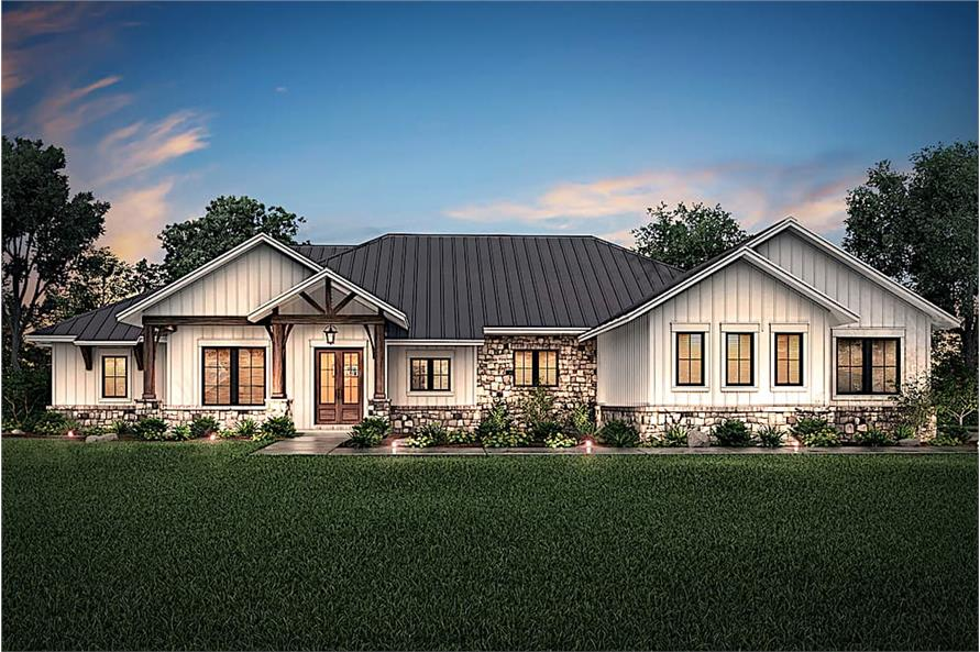 4-Bedroom, 3366 Sq Ft Ranch House Plan - 142-1207 - Front Exterior