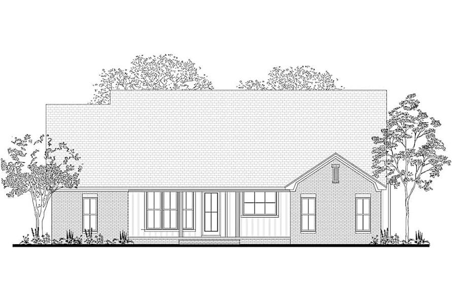 Home Plan Rear Elevation of this 3-Bedroom,2165 Sq Ft Plan -142-1208
