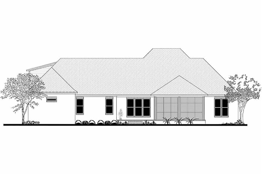 Home Plan Rear Elevation of this 3-Bedroom,2854 Sq Ft Plan -142-1209