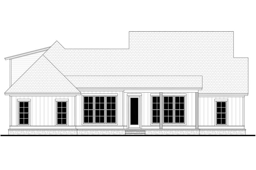 Home Plan Rear Elevation of this 3-Bedroom,2074 Sq Ft Plan -142-1210