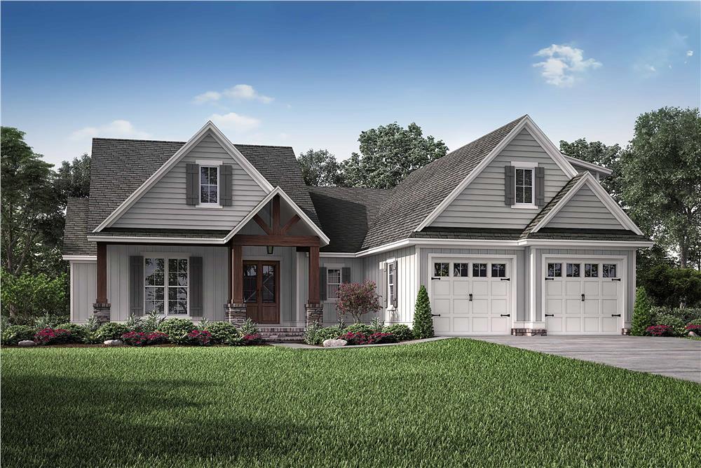 Farmhouse home (ThePlanCollection: Plan #142-1210)