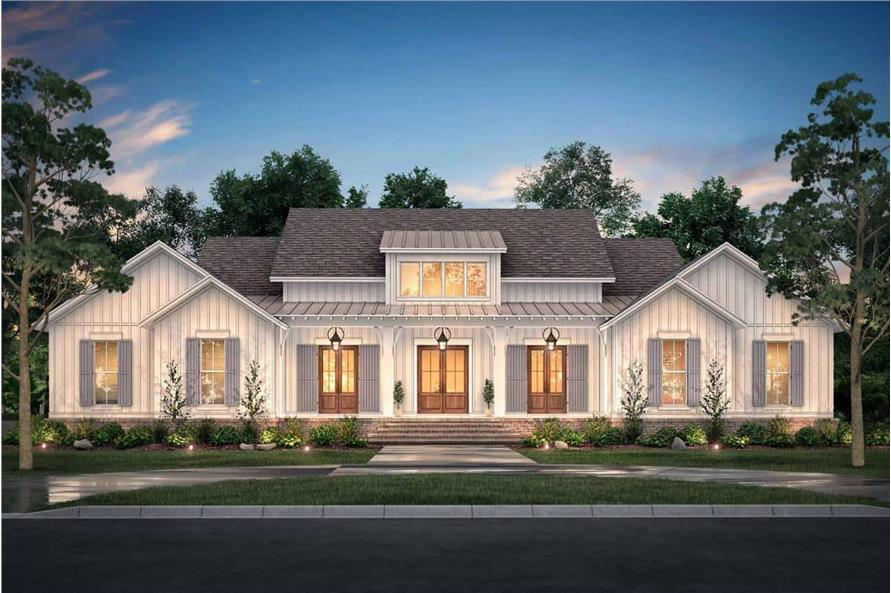 Front View of this 4-Bedroom,3076 Sq Ft Plan -142-1216
