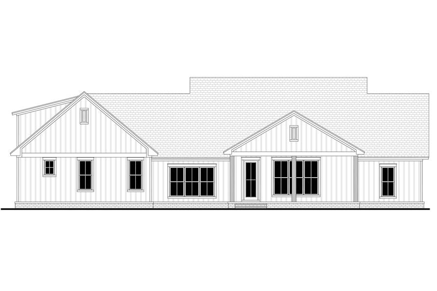 Home Plan Rear Elevation of this 4-Bedroom,2832 Sq Ft Plan -142-1218