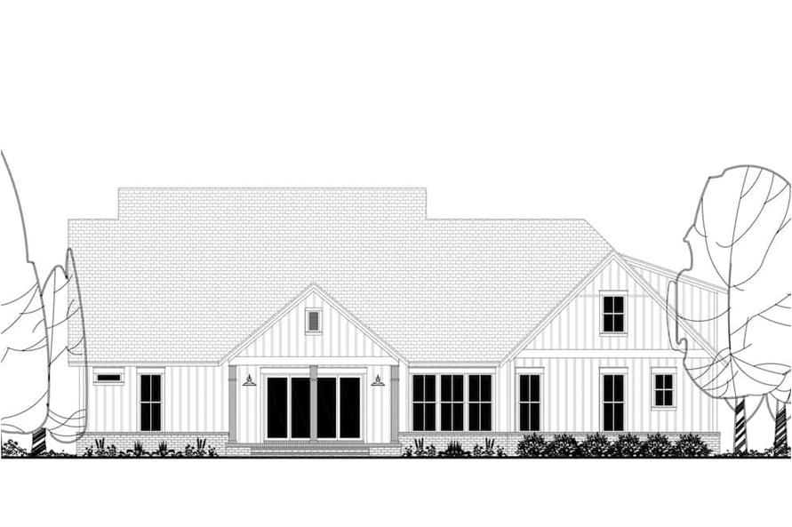 Home Plan Rear Elevation of this 4-Bedroom,2926 Sq Ft Plan -142-1220