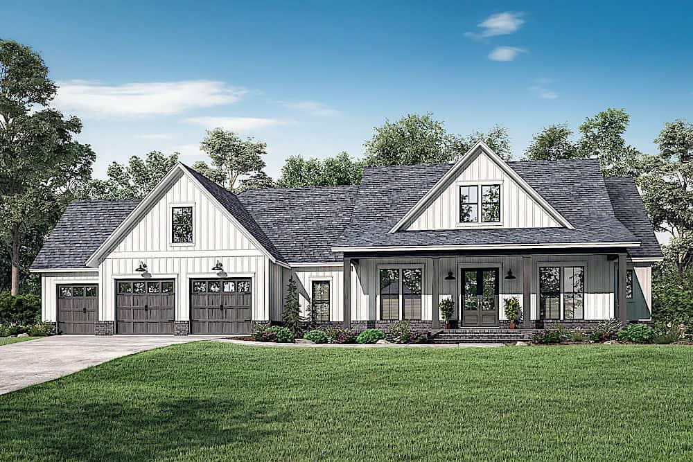 Farmhouse style home (ThePlanCollection: Plan #142-1224)