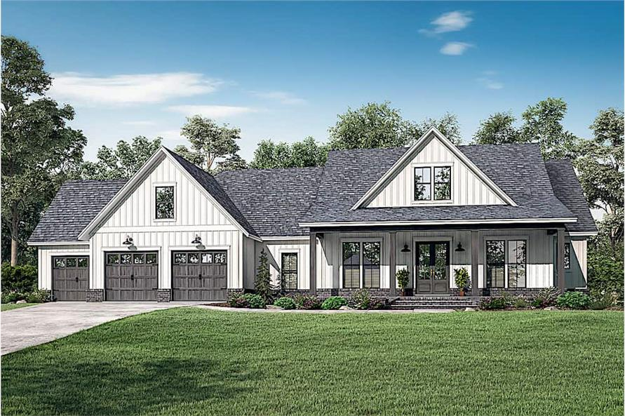 Farmhouse style home (ThePlanCollection: Plan #142-1224)