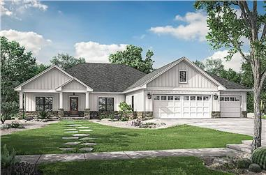 3-Bedroom, 2230 Sq Ft Craftsman House Plan - 142-1225 - Front Exterior