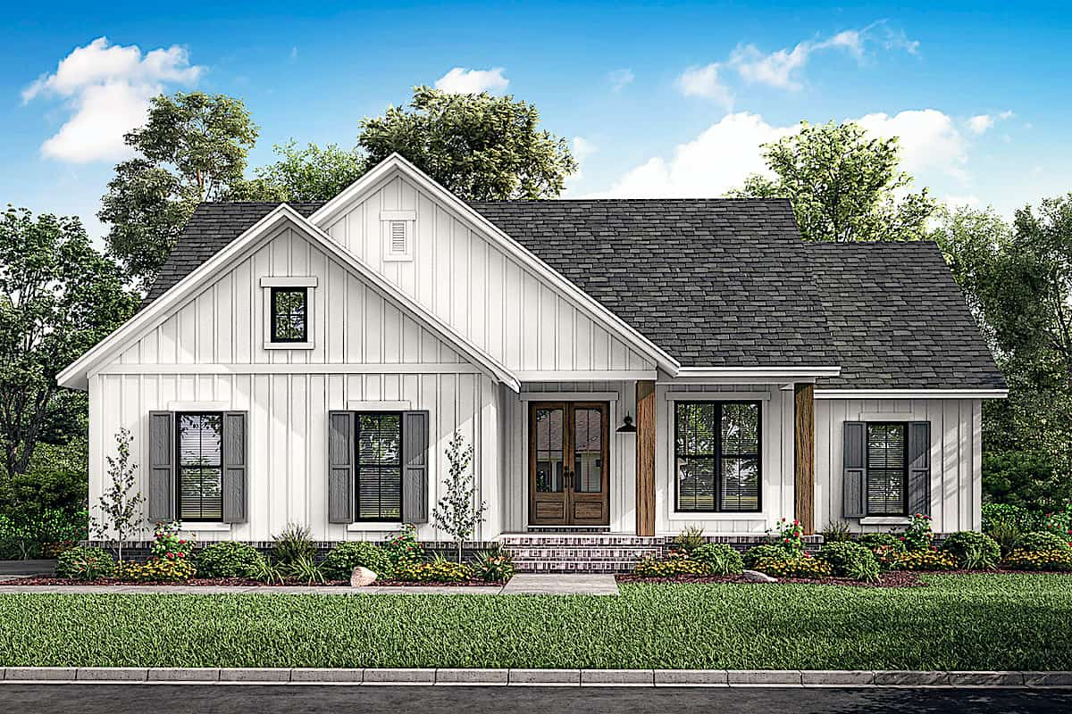Modern Farmhouse Ranch Plan With Vertical Siding 3 Bed 142 1228