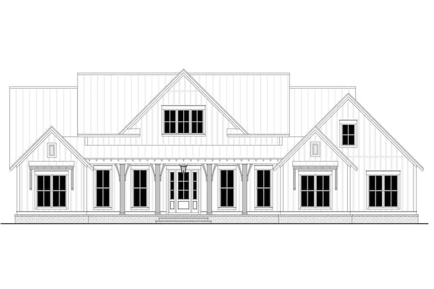 Home Plan Front Elevation of this 3-Bedroom,2553 Sq Ft Plan -142-1233