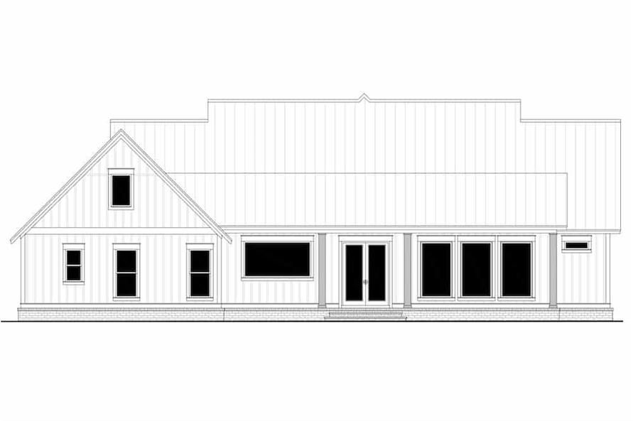 Home Plan Rear Elevation of this 3-Bedroom,2553 Sq Ft Plan -142-1233