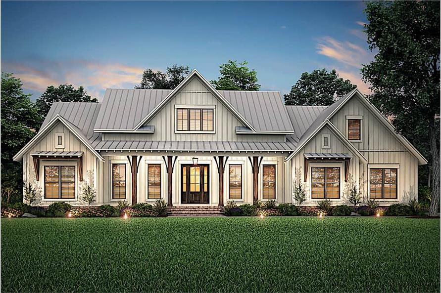Home at Night of this 3-Bedroom,2553 Sq Ft Plan -142-1233
