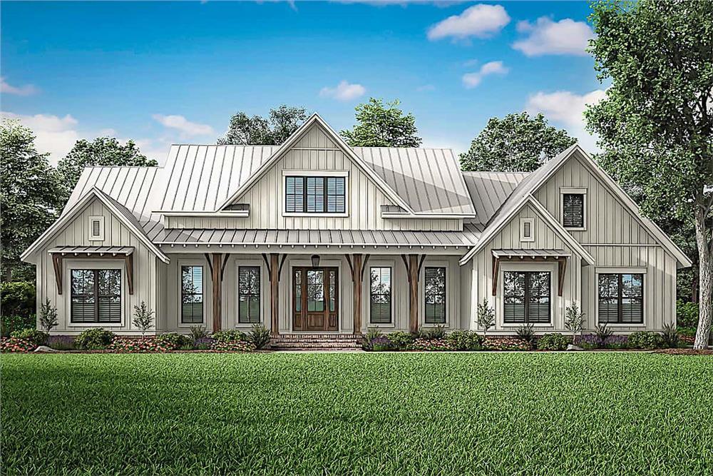 Farmhouse home (ThePlanCollection: Plan #142-1233)