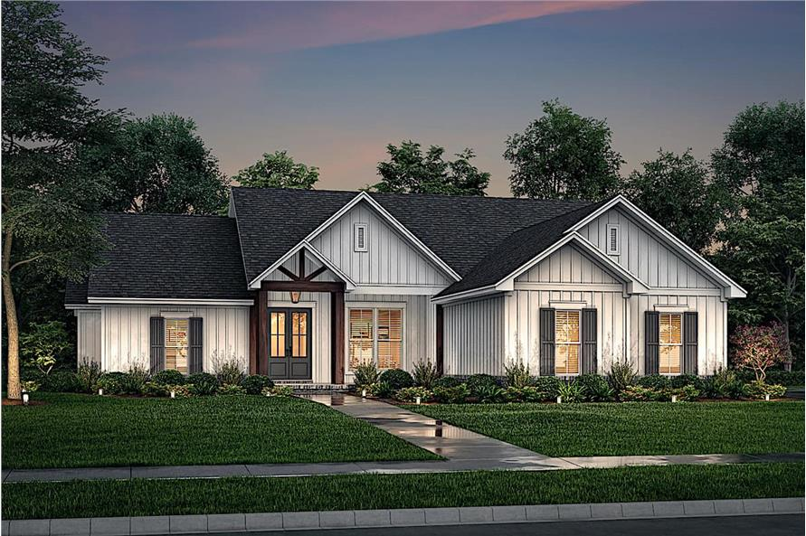 Home at Night of this 4-Bedroom,1992 Sq Ft Plan -142-1241