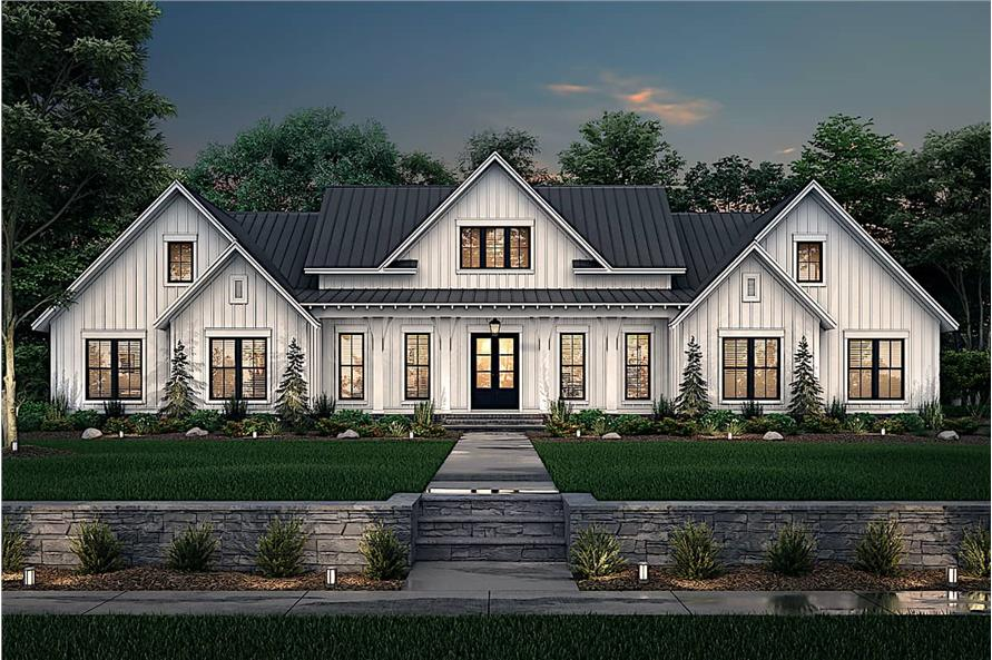 Home at Night of this 4-Bedroom,3086 Sq Ft Plan -142-1244
