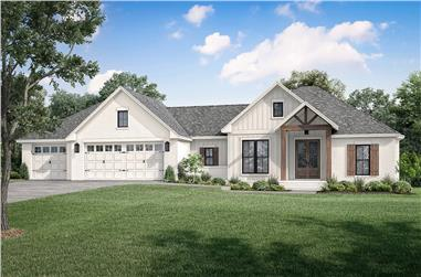 3-Bedroom, 2002 Sq Ft Ranch House - Plan #142-1251 - Front Exterior
