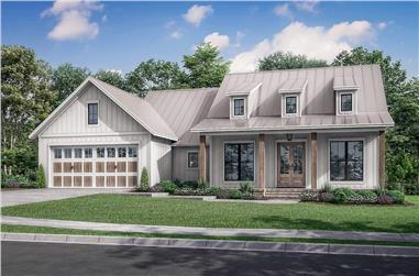 3-Bedroom, 1740 Sq Ft Contemporary House Plan - 142-1252 - Front Exterior