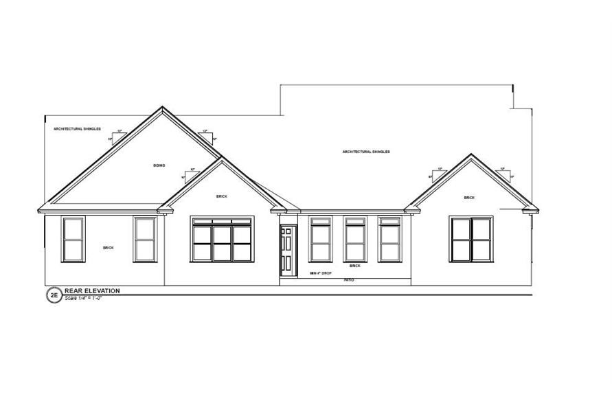 Home Plan Rear Elevation of this 5-Bedroom,2491 Sq Ft Plan -144-1001