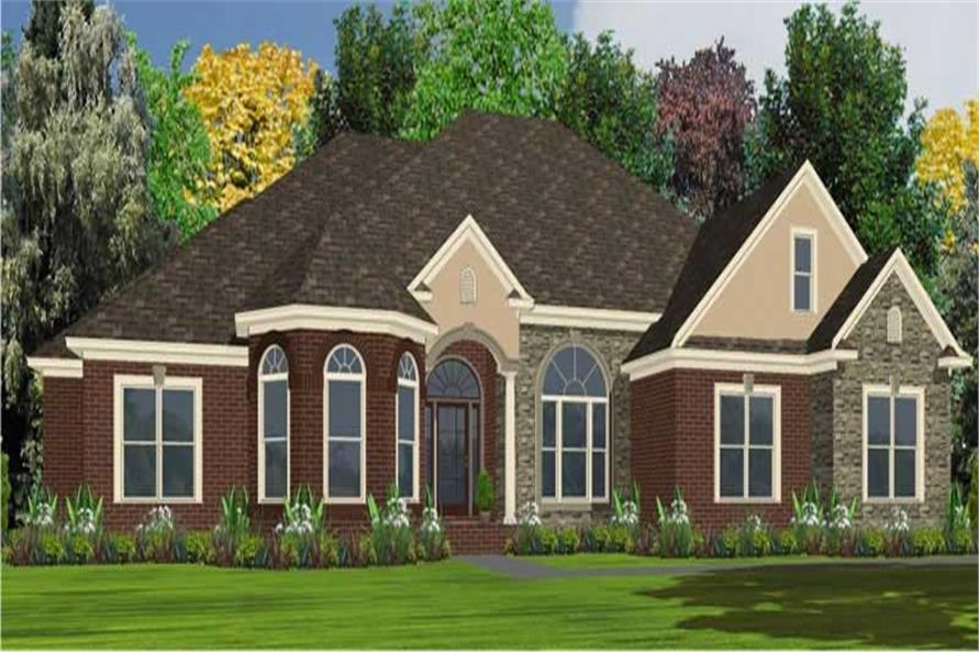 Color rendering of Ranch home plan (ThePlanCollection: House Plan #144-1053)