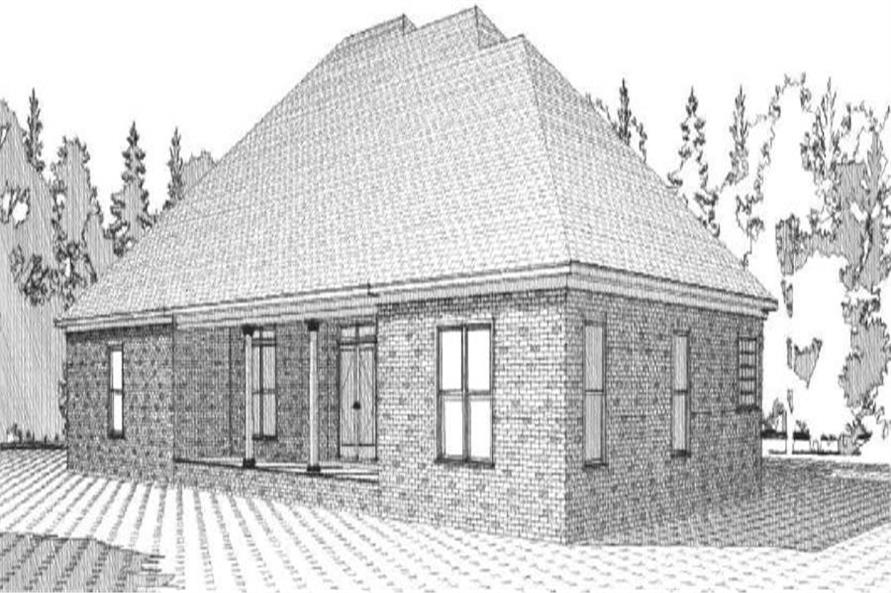 Home Plan Rear Elevation of this 4-Bedroom,2572 Sq Ft Plan -144-1053
