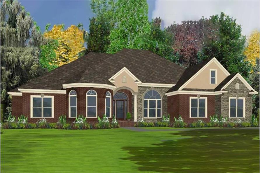 4-Bedroom, 2572 Sq Ft Ranch House Plan - 144-1053 - Front Exterior