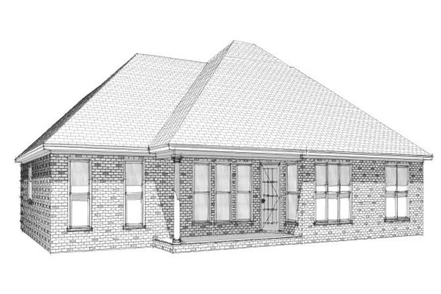 Home Plan Rear Elevation of this 4-Bedroom,1846 Sq Ft Plan -144-1079
