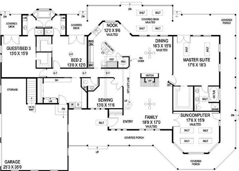 Country home plan 3 bedrms 2 5 baths 2916 sq ft for 1000 sq ft house plans first floor