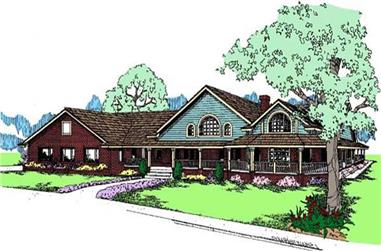 3-Bedroom, 2916 Sq Ft Country House Plan - 145-1000 - Front Exterior