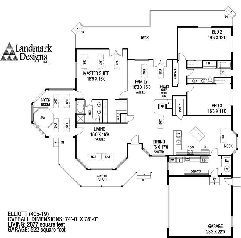 Country ranch house plans home design elliott 6358 for Elliott homes floor plans