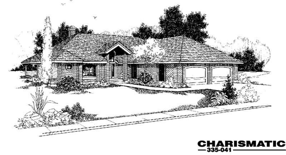 Front elevation of Ranch home (ThePlanCollection: House Plan #145-1016)