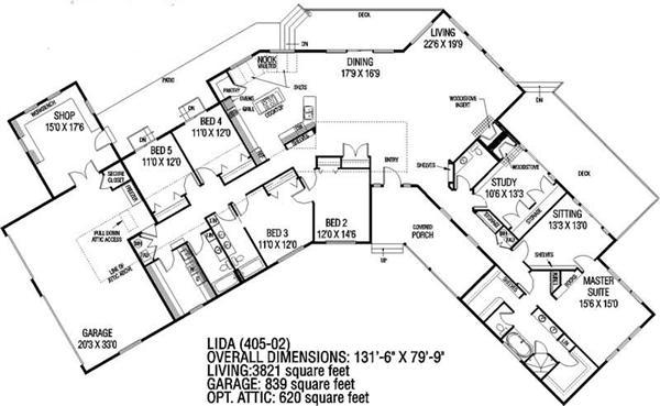 Ranch house plan 5 bedrms 3 baths 3821 sq ft 145 1022 for California garage plans